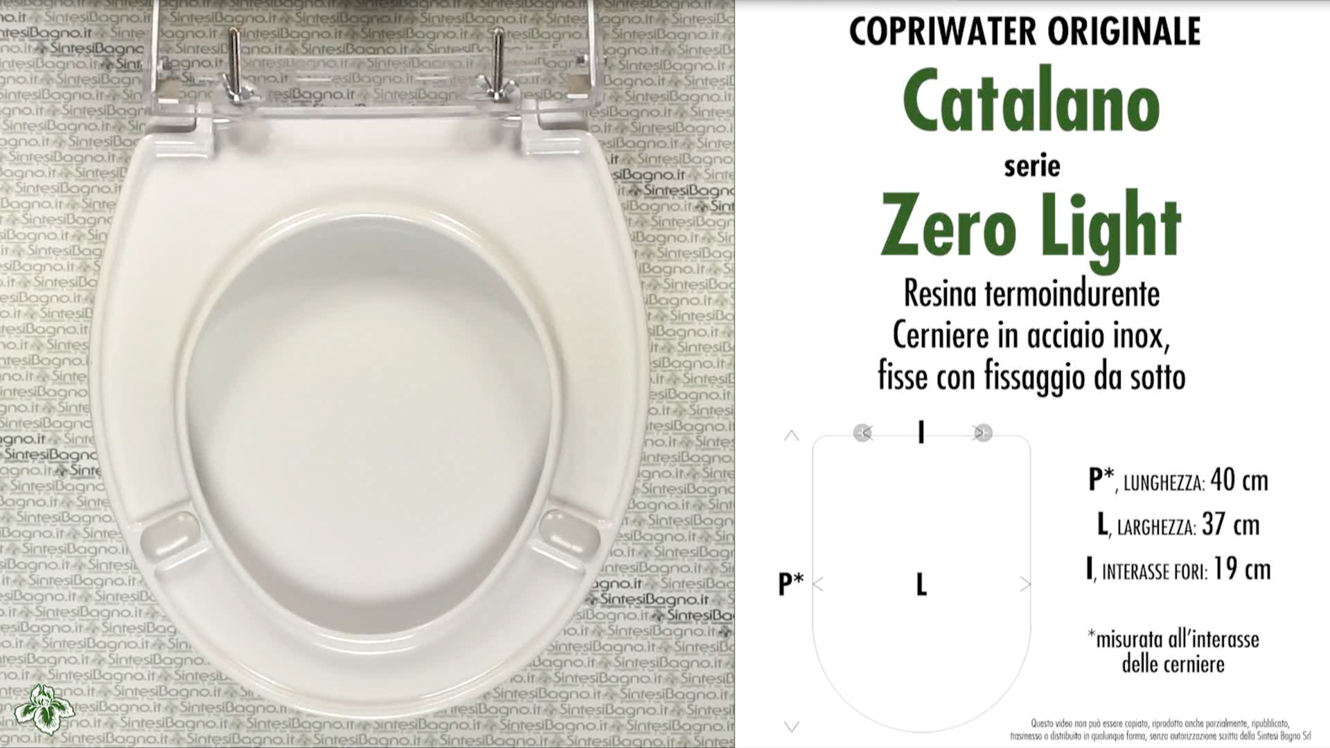 Copriwater per vaso ZERO LIGHT / CATALANO. Tipo ORIGINALE